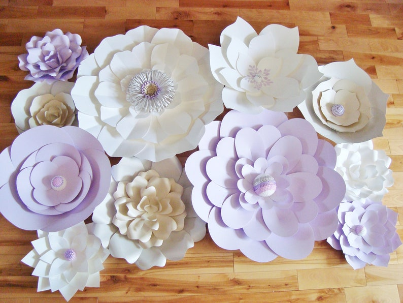 Set of 11 Large Paper Flower Wall Decor for Baby Nursery Wedding Flowers Backdrop Event Decor Multicolour