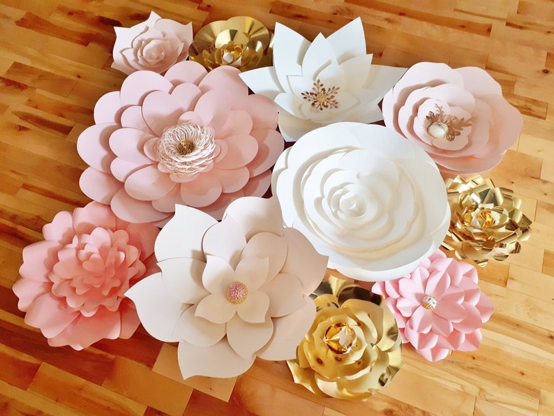 Paper Flower Wall Backdrop Wedding Flowers Display Pink White Gold Set Of 10