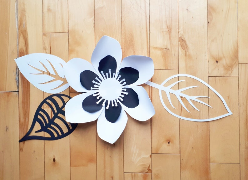 Flower Art Anemone Paper Flowers White And Black