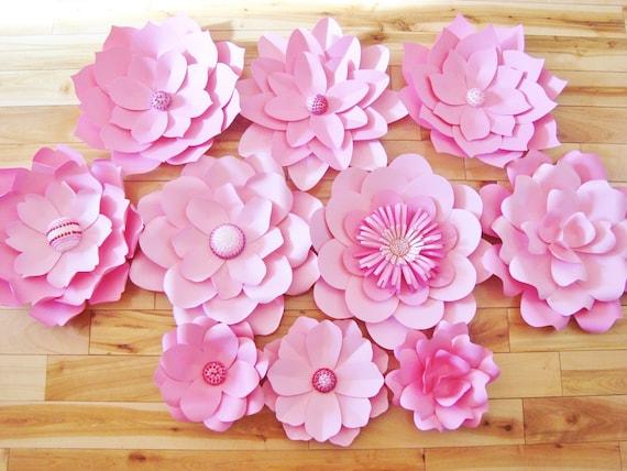 Set Of 10 Paper Flowers Paper Flower Backdrop Paper Flower Etsy