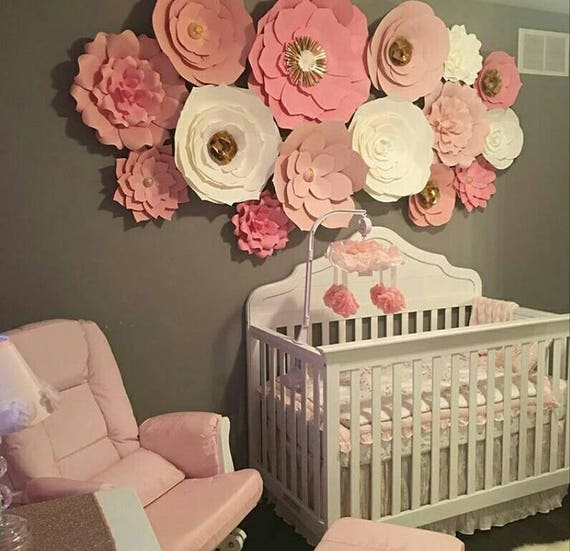 Baby Nursery Decor Paper Flower Wall Wedding Flowers Set Of 15 Pink And White With Gold Accents