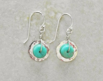 Tiny Hammered Sterling Silver Disc Earrings with Turquoise - Sterling and Turquoise Earrings - Hammered Disc Earrings - Roca Jewelry Designs