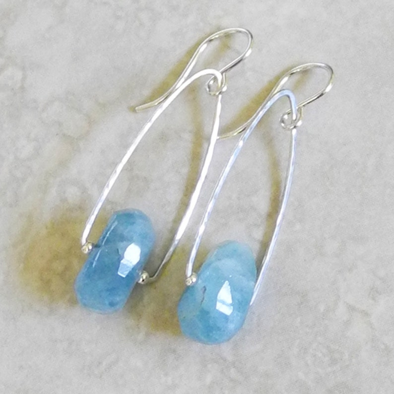 Aquamarine Earrings Hammered Sterling Silver Triangular Earrings with Faceted Aquamarine Roca Jewelry Designs Faceted Aquamarine
