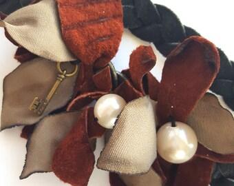 Pearls and Leather Headband/ Fascinator