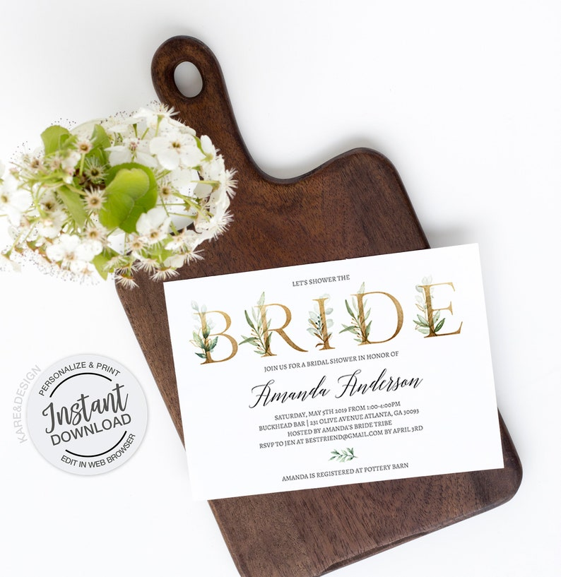 99ed021319654b Greenery Gold Foil Bridal Shower Invitation Instant Download