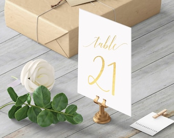 Wedding Table Numbers, Gold Foil Table Numbers, Script Table Numbers, 5x7, Table Numbers Printable Template, PDF Instant Download, Elegant
