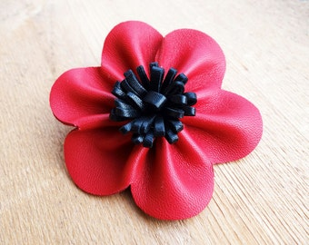 Flower brooch leather // Spring floral pin // marriage flower