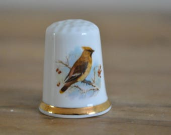Vintage thimble - China - Finsbury - Waxwing bird