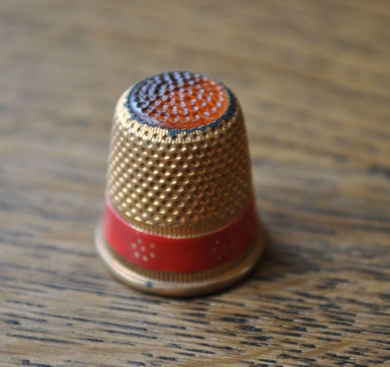 Gold tone Red band Vintage thimble Metal Orange top