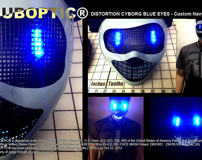 Featured listing image: Huboptic® Cyborg Blue Eyes FX Robot Mask - Navy Gray Mask Bot Light Up Mask LED Mask Rave Mask for DJ Gigs Scifi Robot Cosplay Costume