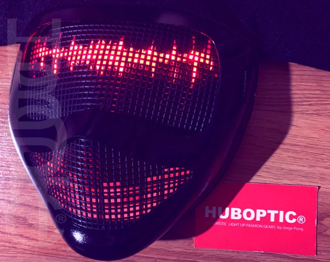 Featured listing image: HUBOPTIC® Frequency Lights Mask Sound Reactive Distortion Fx Fuego DJ Mask LED Mask Props Light Up Mask Costume Gigs Helmet Rave Ai Cosplay