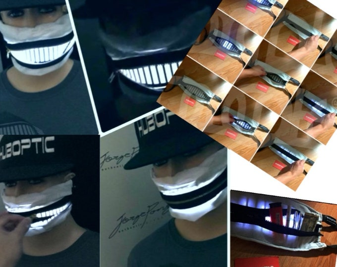 Featured listing image: Bandana Mask Light Up Pocket HUBOPTIC® Zipper Mask Party Mask Sound Reactive Mask LED Bandana Rave Mask Robot Cyborg Steampunk Joker