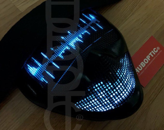 Featured listing image: HUBOPTIC® Distortion Fx Frequency Mask DJ Mask LED Mask Props Light Up Mask Costume Gigs Helmet Rave Ai Cosplay Cyborg Party