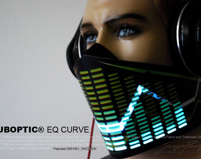 Featured listing image: HUBOPTIC® Original Equalizer Mask LED Futuristic Bandana Mask Eq Curve Light Up Mask Sound Reactive Cyborg Cosplay DJ gigs tron Costume