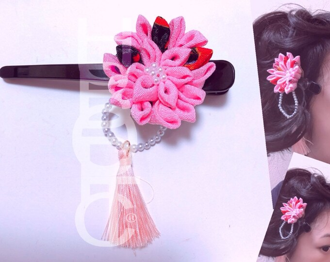 Featured listing image: HUBOPTIC® Geisha Hair Clip Anime Cosplayer Kanzashi#1114 Kimono Hair Accessory Japanese Comb Red Rose Cosplay Costume 100% Hand Assembled