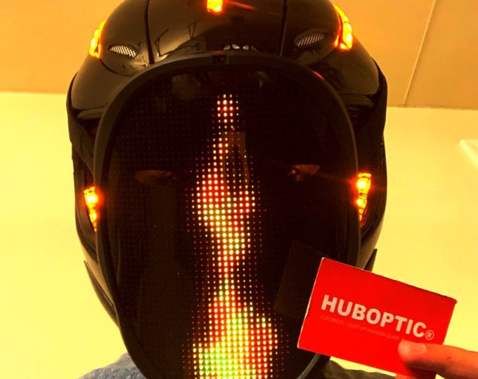 Featured listing image: Custom DJ Helmet with Digital LED Display Sound Reactive Party Costume APP Control Gamer Streamer Light Up Mask Cosplay