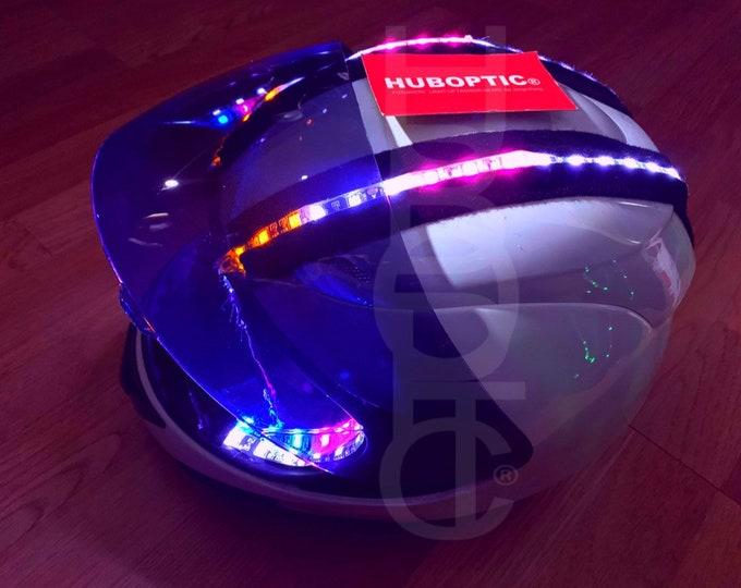 Featured listing image: HUBOPTIC® Custom Helmet STG20 Sound Reactive LED Helmet Props Cyborg Ai Robot Helmet Light Up Mask Rider DJ Robot Costume Cosplay