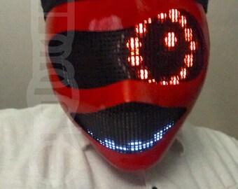 New Red Robot Mask Props LED Eyes Mask Light Up Mask Cyborg Dj Mask Party Cosplay Costume Bot helmet Cyber Rave Mask Wasp Mask