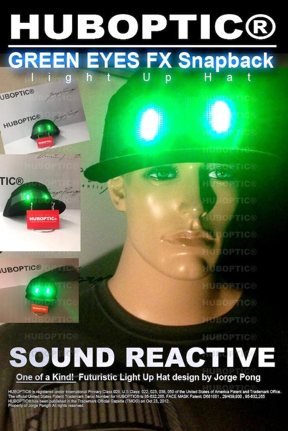 38d29df7d8b Green Eyes FX Light Up Hat LED Snapback Dj Cap Rave Hat