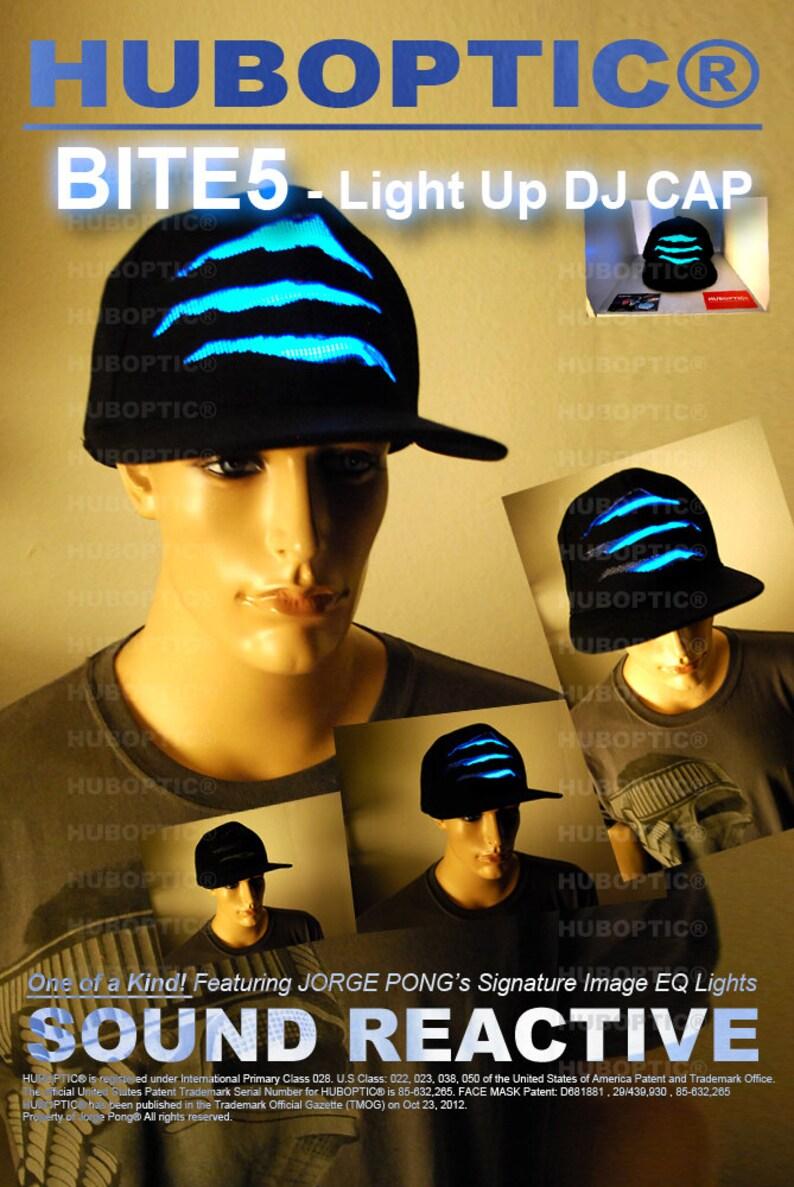 3aeadaa09d8 Light Up Cap DJ LED Hat Bite5 Rave Cap EDM Snapback for