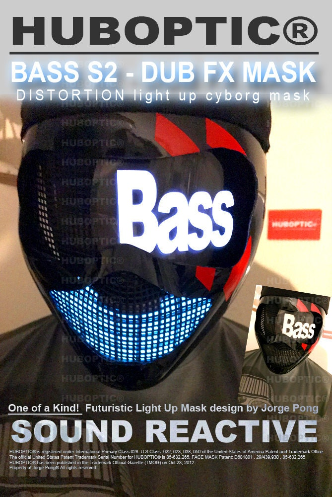 Original Black Rave Bass Mask Sound Reactive Huboptic