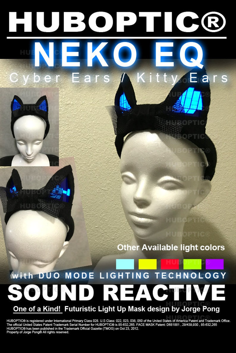 Electro Blue Ears - Cyber Neko Ears / Kitty Ears - Light Up Rave Glow Ears  - Hatsune Miku Cosplay Anime Ears Dancers Ears LED Costume