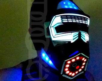 New Robot Mask Cyborg Custom Helmet Sound Reactive Led Props Dust Mask DJ Light Up Mask Rave Mask Wasp Mask Commander Cosplay Party Costume