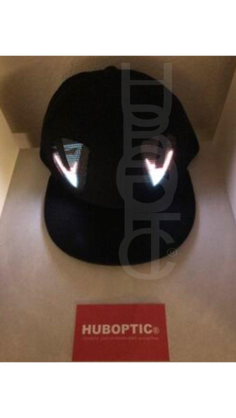 HUBOPTIC\u00ae Sleepy Eyes Fx Hat Snapbacks Light Up Hat LED Cap PropAnimated Eyes Hat Cosplay Party Costume Rave Gogo Comic Robot Cyborg