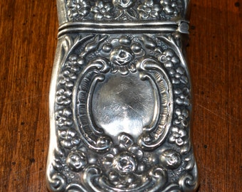 Antique Repousse Sterling Match Safe Match Holder