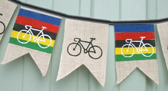 Custom printed fabric Cycling UCI Bunting Handmade