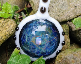Glassadazical Gold /& Silver Fumed Tiered Green Glass Pendant with Copper and Labradorite Accent