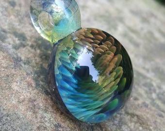 Glassadazical Orange /& Blue Dreamy Fumed Glass Pendant with Focal Honeycomb