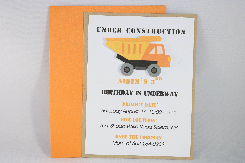 Construction Dump Truck Birthday Invitation | Etsy