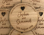 Personalised Wedding Favours - Rustic Place Settings Engraved Wooden Personalized Mini Favors - Mr Mrs Napkin Ring Table Decoration