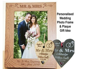 """Personalised Wedding Plaque + Photo Frame 7x5"""" - Engraved Mr & Mrs, Couples Names, Wedding Date - Hanging Heart Gift Idea Keepsake-L1075"""