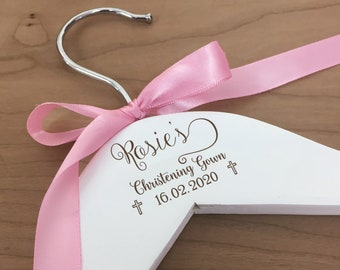 Personalised Baby Hanger for Christening / Baptism / First Holy Communion Gift Idea for Godchild. Baby Outfit Hanger Engraved Wooden Gift