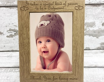 Godparent Photo Frame Gift Idea- Engraved Keepsake for Godparent Godmother or Godfather - Christening Gift from Godchild
