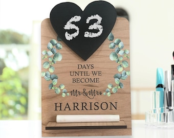 Personalised Wedding Countdown Chalk Plaque Sign, Printed Personalized  Bride to be Gift and Keepsake, Wooden Standing Plaque for Mr & Mrs