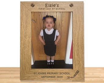 Personalised School Photo Frame Keepsake - Engraved Personalized Gift for First Day at School, Back to School, Nursery, Wooden Picture 5x7
