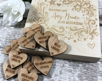 dacb7ffd0 10 Reasons Why You're My Best Friend - Personalised Birthday Gift for  Special Friend - Engraved Wooden Hearts & Personalized Gift Box L1519