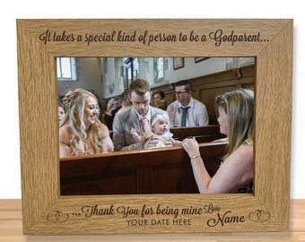 """Personalised Godparent Gift Photo Frame - Engraved 5 x 7"""" Christening Picture Frame Keepsake - Personalized Gift for Godmother or Godfather"""