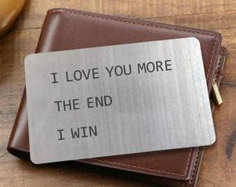 Novelty Wallet Insert Card for Men, Engraved I Love You Gift for Boyfriend, Husband, Partner, Anniversary Gift for Him, Wallet Card Insert