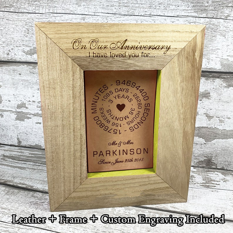 Personalised Leather Gift Engraved Wooden Photo Frame Full Grain Veg Tanned English Leather Wedding Anniversary Gift For Him Custom Name