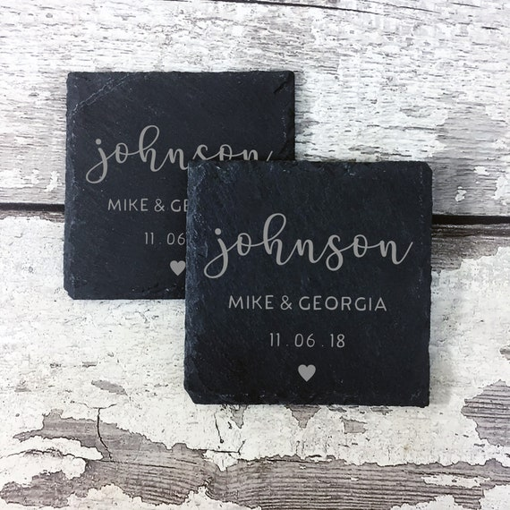 Mr /& Mrs Monogram Surname Set of 4 Boxed Slate Coasters ~ Personalised ~ Premium Quality Smooth Edge ~ Ideal New Home or Wedding Gift