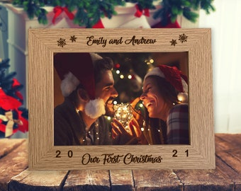 """First Christmas Together Personalised Photo Frame 7"""" x 5"""" - Engraved Wooden Photo Frame Gift , Personalized Christmas Gift for Boyfriend"""