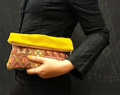Fold Over Clutch Bag (Patchwork Flowers) recycled golden velvet brown autumn reclaimed fabric women