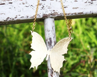 """Large Brass Gold Hammered Butterfly Necklace on Gold Plated 16""""-18"""" chain, perfect gift, bridesmaid, girlfriend gift"""
