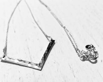 """Simple Sterling Silver Chevron Necklace on delicate 16""""-18"""" chain, perfect girlfriend, gift for her, birthday, anniversary"""