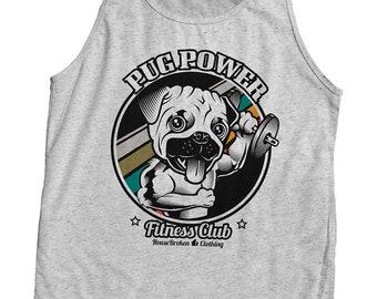 I Love My Pug Mens Sleeveless Zipper Hoodie Sweatshirt Active Workout Tank Top