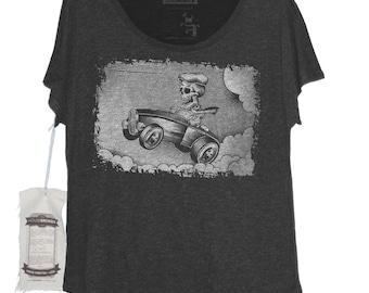 a27885c0 Womens Hot Rod Car Shirt - Hot Rod Lover Shirt- Womens Car Shirt - Skeleton  Shirt for Women - Hot Rod Skeleton Hand Printed on Womens Dolman